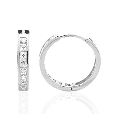5a81aed22ab Image Unavailable. Image not available for. Color  14K White Gold Princess  Cut Cubic Zirconia Channel Set Huggie Hoop Earrings