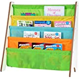 Naomi Home Kids Toy Sling Book Rack, Pastel Colors/White