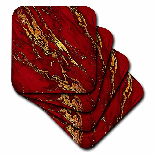 Red Tile Coaster - 3dRose Uta Naumann Faux Glitter Pattern - Luxury Red Gold Gem Stone Marble Glitter Metallic Faux Print - set of 4 Ceramic Tile Coasters (cst_268833_3)