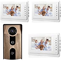 YuHan RFID HID ID Card Waterproof Home Wired Video Door Phone Audio Visual Intercom Entry Access System For House Villa 3 Monitors