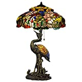 Bieye L10497 19-inches Lotus and Dragonfly Tiffany Style Stained Glass Table Lamp with Resin Red-Crowned Crane Base - Double Lit - 34-inch Tall