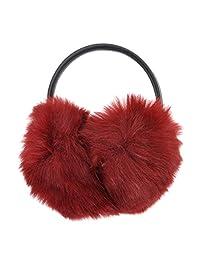 ZLYC Unisex Fashion Classic Faux Fur Adjustable Band Winter Earmuffs Earwarmer(Red)