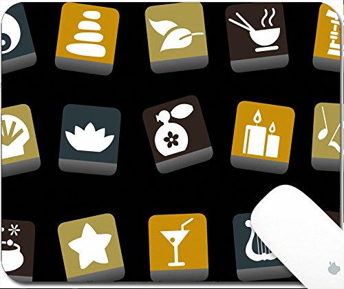 Luxlady Gaming Mousepad Vector icons pack Yellow Brown Blue Series zen collection 9.25in X 7.25in IMAGE: 5057678