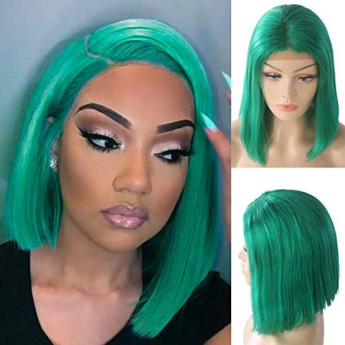 Short Bob Wigs for Black Women Human Hair Lace Front Wigs Soft Silky Straight Glueless 180% Density Brazilian Virgin Human Hair Bob Middle Part All Hairstyle Green 8 Inch (Short Bob Hairstyles For Women Over 60)