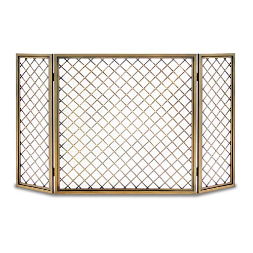 Pilgrim Home and Hearth 18243 Hartwick Tri Panel Fireplace Screen, Antique Brass, 48