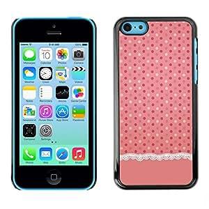 [Neutron-Star] Snap-on Series Teléfono Carcasa Funda Case Caso para iPhone 5C [Modelo de punto rosa Tela de lino]