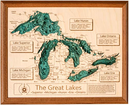 Long Lake Lifestyle Cedar Creek Reservoir - Franklin County - AL - 3D Map 24 x 30 in (Honey Oak Frame) - Laser Carved Wood Nautical Chart and Topographic Depth ()