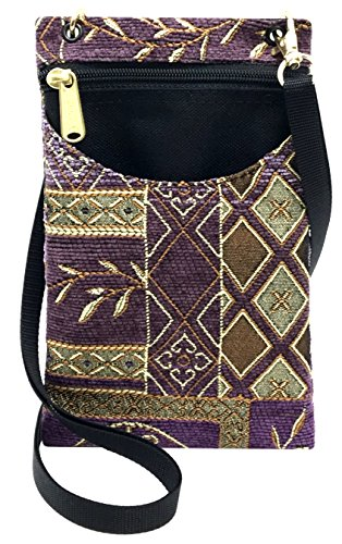 Danny K Women's Tapestry Crossbody Cell Phone or Passport Purse, Handmade in USA (Neptune/Purple)