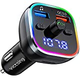 VicTsing V5.0 FM Transmitter for Car Bluetooth, 6 Color Ambient RGB Lighting Choices