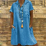 Sayhi Solid Color Large Size O Neck Casual Dress