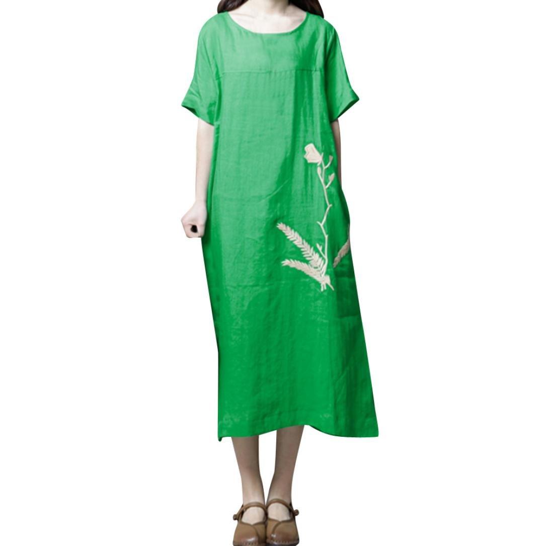 JPOQW-autumn Women's Cotton Linen Dress Large Size Casual Embroidery Dress O Neck Short Sleeve Dress