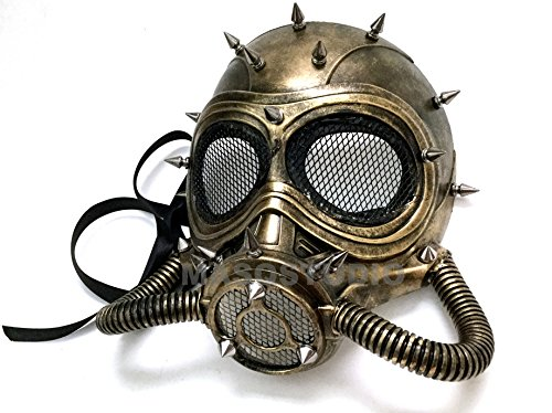Halloween Costume Cosplay Steampunk Dress up Party Masquerade Gas Mask (Gold) -