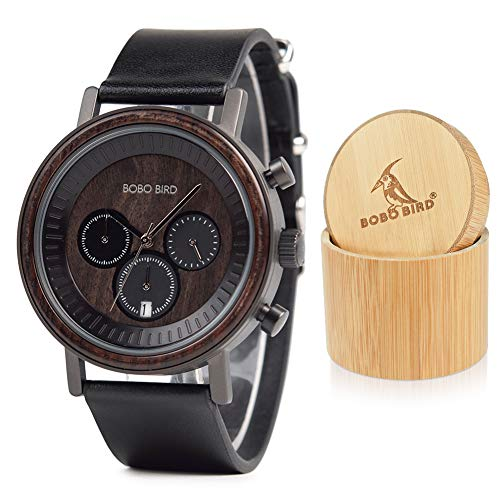 Mens Womens Simple Luxury Sport Wooden Watches Stainless Steel Wood Date & Chronograph Watch(Black)