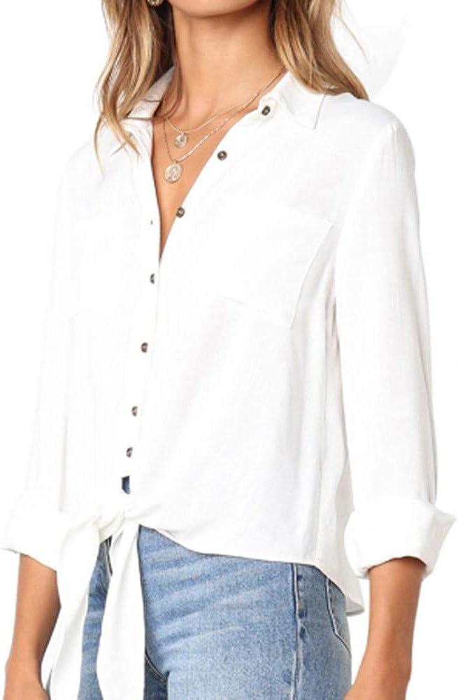 Darringls Blusa para Mujer, Mujeres V Cuello Blusa Pura Atractiva Grandes Suaves OL Ladies Sueltas Camisas de botón Tallas Tops Camisa de Manga Larga (Blanco, XL): Amazon.es: Ropa y accesorios