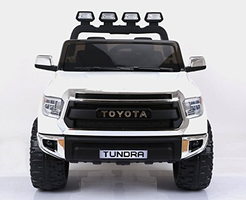 KidsVip Exclusive Toys for Kids and Toddlers Limited Official 2 Seats Toyota Tundra 12v Ride on Truck, Car, Toy for Kids with Remote Control, Music, Lights, Leather (Toyota Truck Motors)