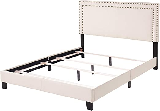 Upholstered Platform Bed Frame with Wooden Slats/&Nailhead Full//Queen//King Size
