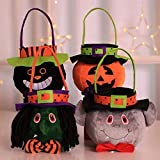 ALANGDUO Halloween Candy Tote Bags Pumpkin Trick Treat Halloween Candy Buckets Gift Bags for Kids Girls Boys Set of 4