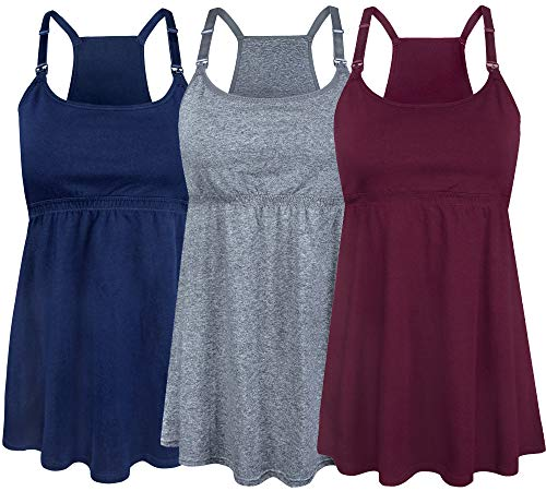SUIEK Women's Nursing Tank Top Cami Maternity Bra Breastfeeding Shirts (Medium, Charcoal+Navy+Burgundy - Fourth Style)