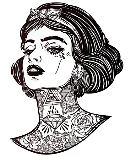 Sexy Gangster Snow White with Tattoos - Black and White Vinyl Decal Sticker (8