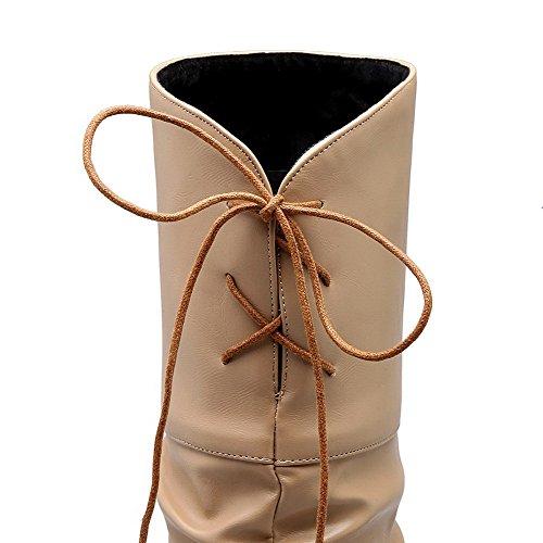VogueZone009 Damen Hoch-Spitze Rein Hoher Absatz PU Leder Rund Zehe Stiefel Aprikosen Farbe