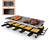 Artestia 10 Person Large Stainless Steel Electric Raclette Grill with Two Full Size
