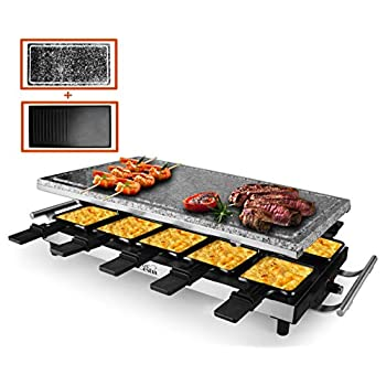 Image of Artestia 10 Person Large Stainless Steel Electric Raclette Grill with Two Full Size Top Plates, High Power 1500W (Full Size Stone and Non-Stick Reversible Aluminum Plate for 10 persons) Home and Kitchen