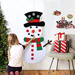 Description: Aparty4u Christmas DIY felt snowman set is sturdy enough and thick with securely sewn hook & loop spots. Your kids will love having their own Christmas snowman to decorate and redecorate as often as they wanted to. Fun toddle...