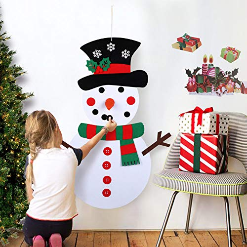 Diy Halloween Decorations For Toddlers (OurWarm DIY Felt Christmas Snowman Game Set with 31pcs Detachable Ornaments, Wall Hanging Xmas Gifts for Christmas Decorations, 39 x 20)
