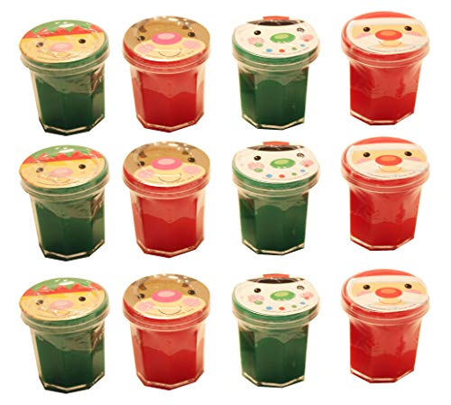 12 Tiny Christmas Holiday Slime/Putty - Party Favor - Prize - Small Gift - Santa/Elf/Reindeer/Snowman (1 Dozen)