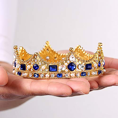 Crystal Crown Cake Topper Height Gold Rhinestone Crown Strong Stones Will Not Fall Birthday Party Adult Ceremony Prom Wedding Birthday Party For Mother Bride Bridesmaid Queen Princess Girl Kids