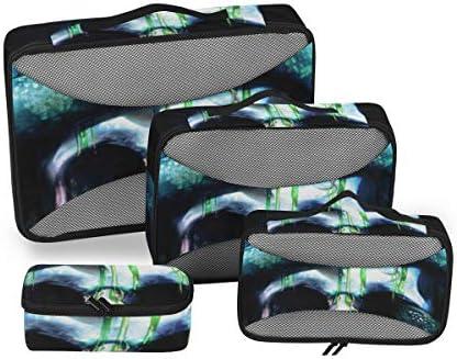 トラベル ポーチ 旅行用 収納ケース 4点セット トラベルポーチセット アレンジケース スーツケース整理 スカル 頭蓋骨とヘビ 収納ポーチ 大容量 軽量 衣類 トイレタリーバッグ インナーバッグ