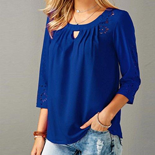 4 Chemisiers Tops Manches Soie Shirt de Mousseline de T Blouses Bleu 3 Femmes BqwZYxZ