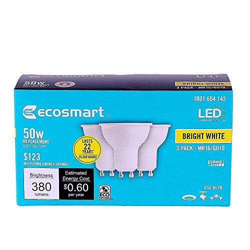 50W Equivalent Bright White MR16 GU10 LED Light Bulb (3-Pack) (Ecosmart Light Bulbs Led compare prices)
