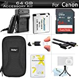 64GB Accessories Kit For Canon PowerShot ELPH 340 HS, ELPH 360 HS Digital Camera Includes 64GB High Speed SD Memory Card + Extended Replacement (900 maH) NB-11L Battery + AC/DC Charger + Case + More