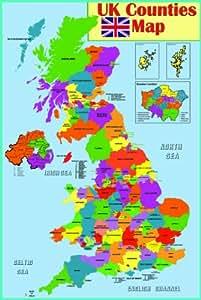 Póster de mapa político del Reino Unido (laminado): Amazon
