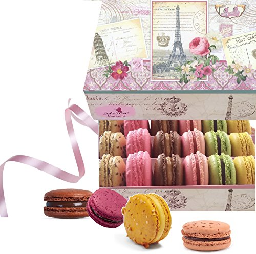 Leilalove Macaron collections- Paris Souvenir Box of 18 Gourmet Macarons up to 10 Flavor Assortments - Comes in Collectible Memory box(boxes may vary in color and style)