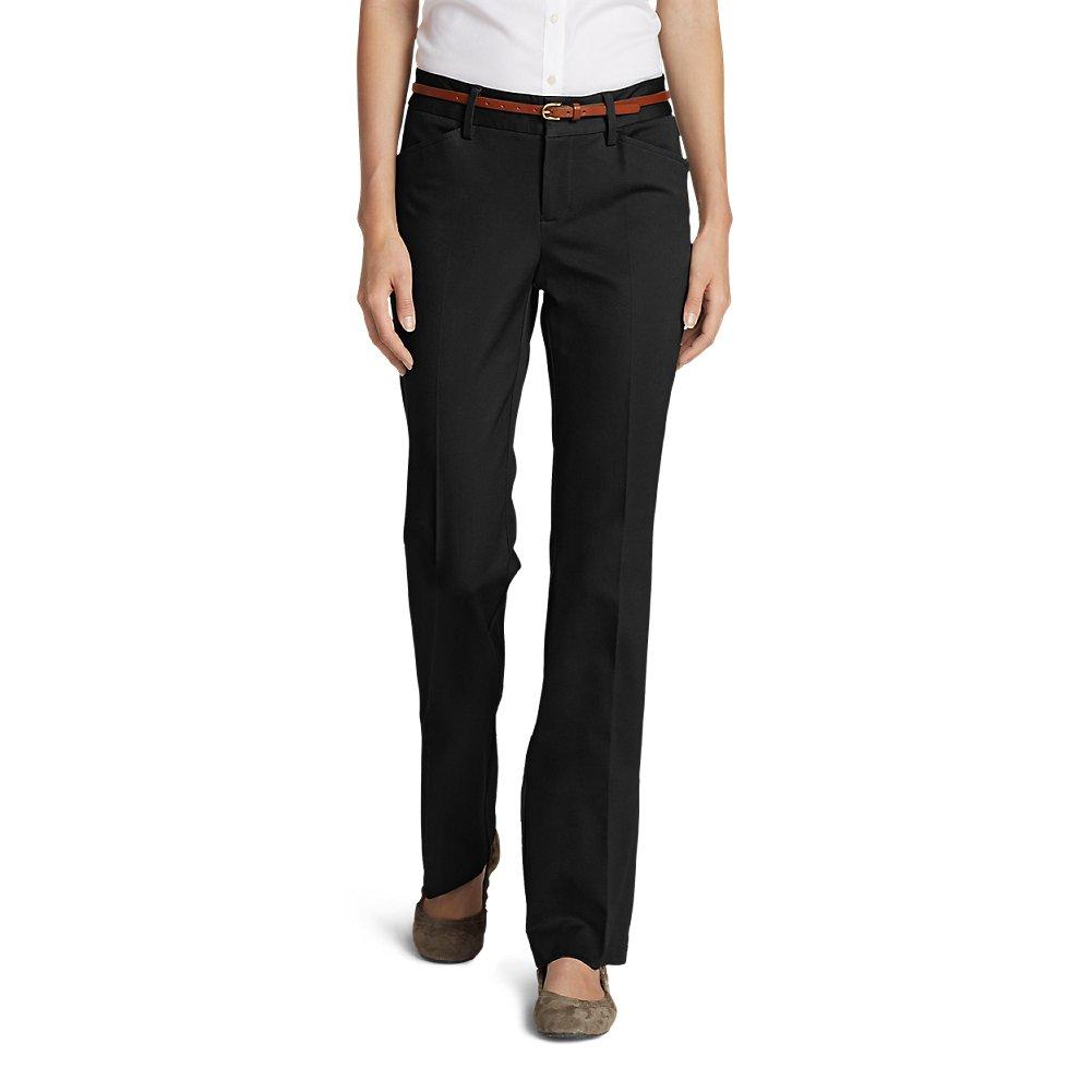Eddie Bauer Women's StayShape Twill Trousers - Slightly Curvy, Black Regular 16