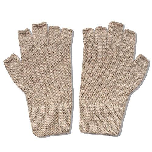 The Alpaca Collection, 100% Alpaca Wool Knit Fingerless Gloves Lt Beige Medium