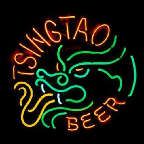 Urby® TSINGTAO Beer Real Glass Neon Light Sign Home Beer Bar Pub Windows Garage Wall Sign 19''x15'' R25