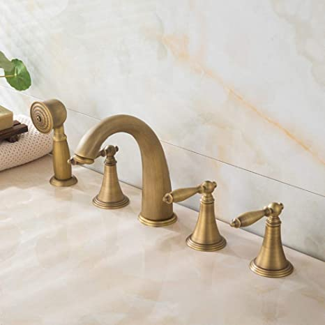 5 Hole Deck Mount Tub Faucet With Hand Shower.Bathroom Tub Faucet 5 Hole Roman Tub Filler Faucet With