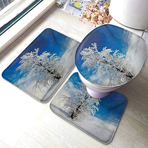 Winter Washable Bath Rug Set Lonely Tree on Snow Covered Land Cloudy Sky Rural Scenery in January Cold Country U-Shaped Toilet Mat Toilet Lid Cover Blue White / Winter Washable Bath Rug Set Lonely Tree on Snow Covered Land Cloudy S...