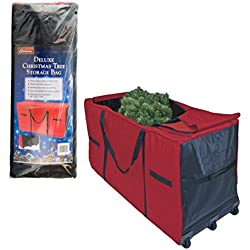 "Christmas Tree Storage Bag- Heavy Duty 58""x24""x34"" Storage Container with Wheels"