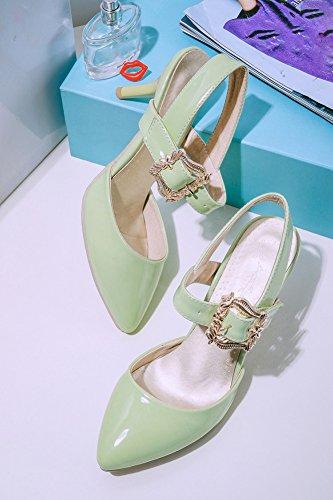 CHFSO Womens Pointed Toe Buckle Ankle Strap Kitten Heel Low Cut Pumps Shoes Green N627bz8