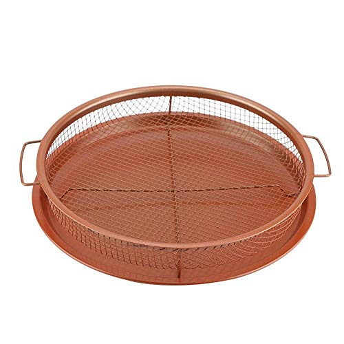Deluxe Copper Crisper - 2-Pieces Nonstick Oven Air Fryer Pan/Tray & Mesh Basket Set - Air Fryer in Oven - Ideal for French Fry - Frozen Food, Baking Sheet without Oil by WHG (1, Round 1)