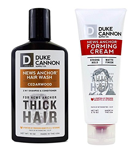 Duke Cannon News Anchor Thick Hair Combo Set: Forming Cream + Cedarwood Hair Wash, 2 in 1 Shampoo & Conditioner by Duke Cannon