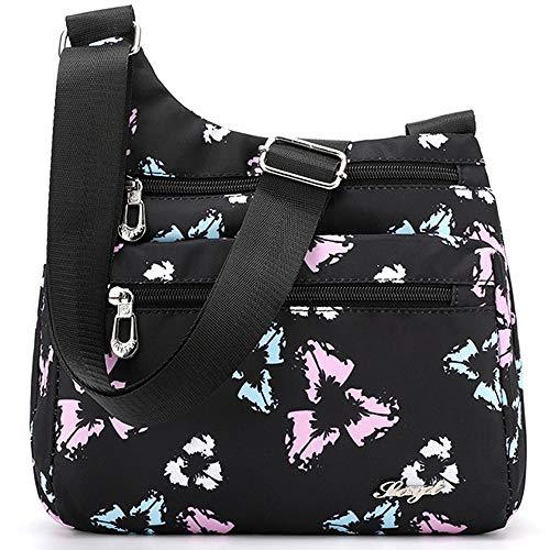 (STUOYE Nylon Multi-Pocket Crossbody Purse Bags for Women Travel Shoulder Bag (Triangle Flower))