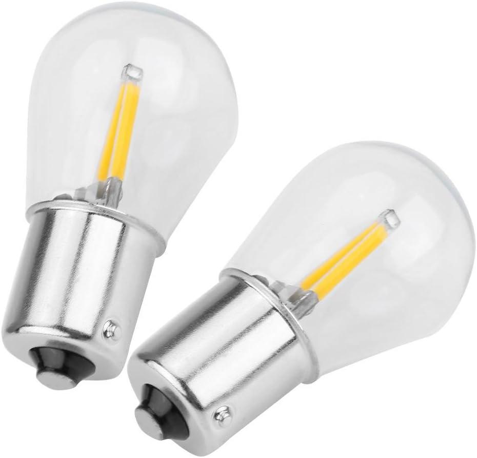 Warmes Gelb Nimoa ein Paar Autolampen-1156 Glaslinse Cob LED Filament Bremslicht Signal Licht Blinker Umkehrung DC12-28V 2W 200LM 120mA