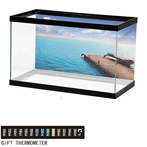 - wwwhsl Aquarium Background,Summer,Wooden Deck on Charm Lake Holiday Europe Coast Tranquil Sea View,Violet Blue Turquoise Redwood Fish Tank Backdrop 60