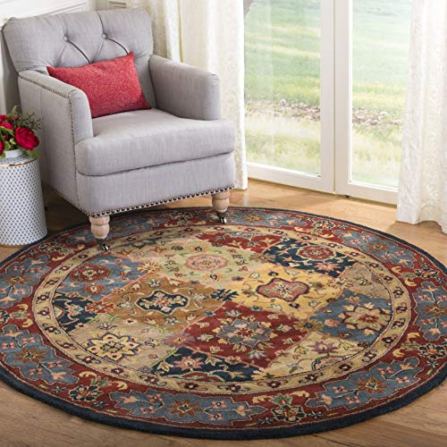 Safavieh Heritage Collection HG926A Handcrafted Traditional Oriental Red and Multi Wool Round Area Rug (10' Diameter) (Rug 10 Diameter)