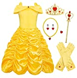 HenzWorld Belle Dress Up Princess Costumes For Girls Layered With Accessories Cosplay Birthday